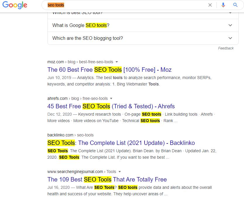 seo tools focus keyword