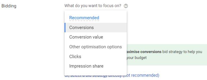 types of bid strategy in google AdWords