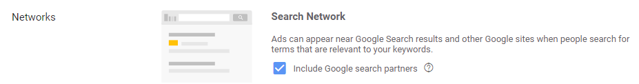 Google search partners settings in google ads
